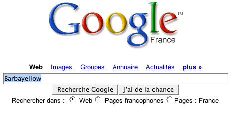 Barbayellow dans Google