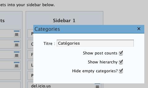 L'interface des widgets