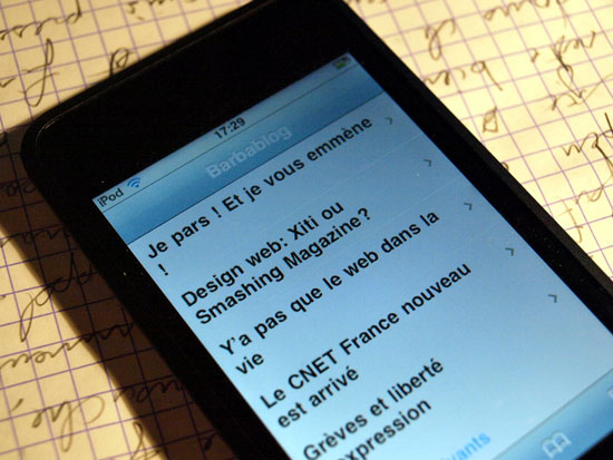 Barbablog sur iphone