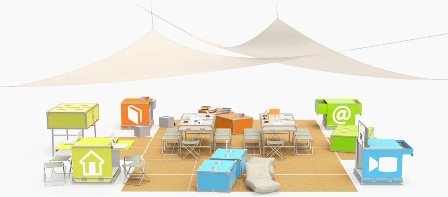 L'Ideas Box déployée : une médiathèque de 80 m2